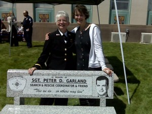 Chief Civil Deputy Eileen Porter & Rocky in summer of 2008 at dedication of Search & Rescue bench