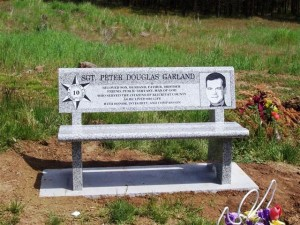 A memorial Bench Rocky placed at Peter's Gravesite