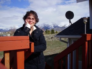 On the deck of my Nevada home overlooking the Ruby Mountains