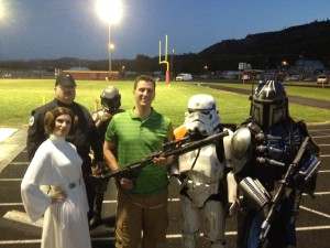 Pastor Aaron who gave the opening prayer is a big Star Wars Fan!