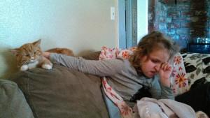 Abby loving the cat